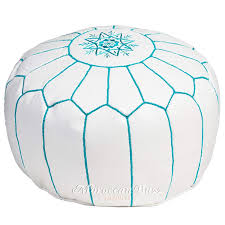 com moroccan buzz premium leather pouf ottoman cover white with teal stitching unstuffed pouf kitchen dining