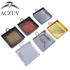 100pcs 16mm 18mm 20mm 25mm square bezel pendant blank tray cabochon base settings findings for jewelry