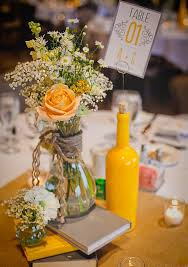 handmade wedding centerpieces ideas. love the yellow wine bottle for table number california handmade wedding centerpieces ideas
