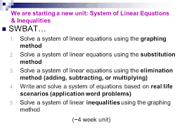 we are starting a new unit system of linear equations inequalities