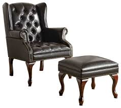 traditional black wing back on tufted chair and ottoman accent seating