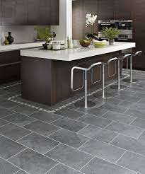 Tile Floors For Kitchen Gray Tile With Dark Brown Cabinets Kitchens Pinterest Dark