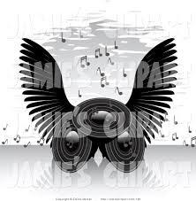 music speakers clipart. clip art of three stereo speakers with black angel wings, blaring loud songs musical music clipart k