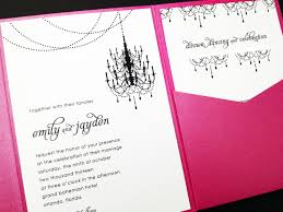 lovely pink diy pocket wedding invitations combined with attractive black chandelier painting decoration on white
