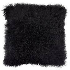 Mongolian fur pillows Turquoise Mongolian Pillow 22 Gallerie Black Mongolian Fur Pillow Gallerie