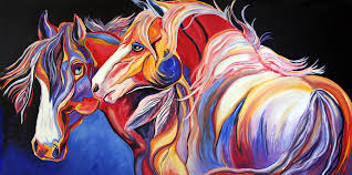 abstract horse paintings painting paint horse colorful spirits by jennifer shalk