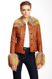 image of rachel zoe gloria faux fur trim leather jacket
