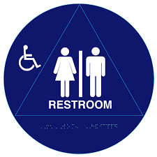 40 Circular Raised Handicap Unisex ADA Restroom Signs and Bathroom Mesmerizing Unisex Bathroom Sign