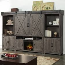 legends furniture house 5 piece fireplace wall unit w sliding barn doors in distressed smoked grey