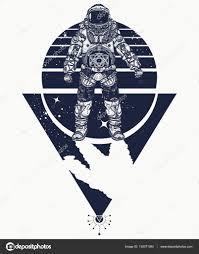 Kosmonaut Ve Vesmíru Tetování Kosmonaut Ve Vesmíru Stock Vektor