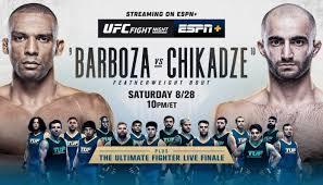 Watch UFC Fight Night: Barboza vs. Chikadze 8/28/21