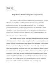 pol s s introduction to comparative politics wsu  2 pages single member district and proportional representation essay