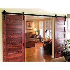 sliding barn doors interior. DIYHD 10ft Bent Straight Rustic Black Double Sliding Barn Door Hardware (10ft Track Kit) Doors Interior