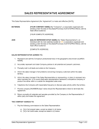 Representation Agreement Template Advertising Sales Representation ...