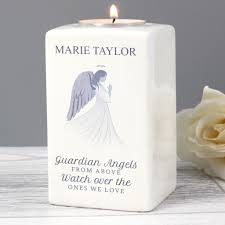 Personalised Tea Light Candle Holders Personalised Guardian Angel Ceramic Tea Light Candle Holder