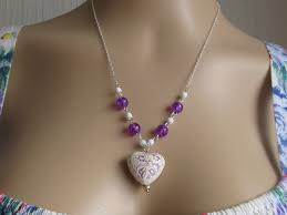 valentine cream porcelain heart shaped pendant purple markings necklace 22 ins necklace made from purple and white beads 925 silver