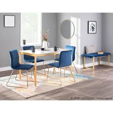Lumisource Fuji Gold Metal Dining Table With White Marble Top Dt