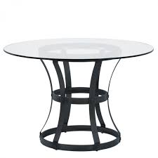 vancouver round dining table in mineral finish and 48 glass top