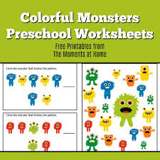 Monster Colors Printable Worksheets for Preschoolers - The Moments ...