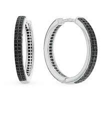 Серебряные <b>серьги</b>-<b>кольца</b> с фианитами — купить в каталоге с ...