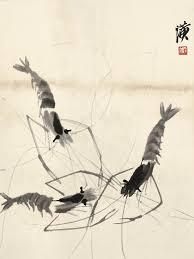 traditional chinese painting seascape picture scenery posters home decor animals shrimps lobster qi baishi masterpiece art in painting calligraphy from