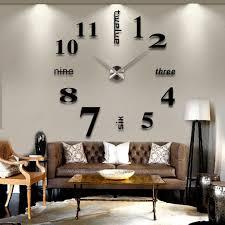 3d diy large wall clock black