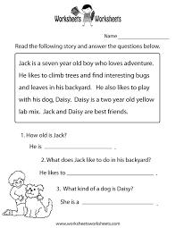 Comprehension Worksheets Kindergarten Worksheets for all ...