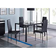 ids 5 piece pact dining table room set for 4 with gl top and soft faux leather chairs dinette rectangular black