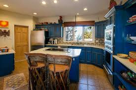 Blue Kitchen Island Design With Wooden Chairs For Mexican Kitchen Ideas  With Terra Cotta Floor