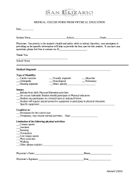 Fillable Online Medical Excuse Form From Physical Education Fax