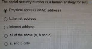 Solved: The Social Security Number Is A Human Analogy For ...
