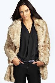 boohoo liv oversized collar longline faux fur coat