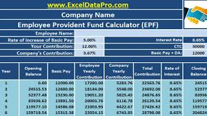 Provident Fund Chart Download Employee Provident Fund Calculator Excel Template