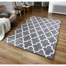 arabesque moroccan pattern wool rug grey 80 x 150 cm 2 8