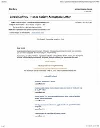 Honor Socity Acceptance Letter