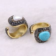 5 pieces natural stone rings druzy rings whole jewelry custom jewelry bang rings adjule rings 3502