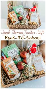 this apple themed teacher gift for back to is easy to put together