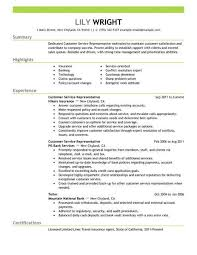 Example Of A Customer Service Resume New Customer Service Representative Customer Service Resume Example