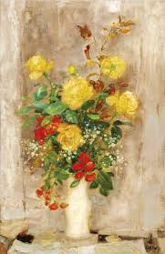 Le Pho (1908-2001), Yellow Roses, Oil on silk fixed on