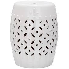 patio stool: lattice coin white ceramic patio stool