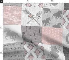 Sugar Pine Design Fabric Amazon Com Spoonflower Wild Horses Fabric Boho Horse