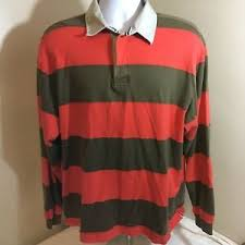 Details About Lands End Mens Long Sleeve Rugby Shirt Xl Orange Green Stripes Free Shipping