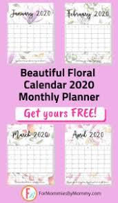2020 monthly planner template beautiful floral free printable calendar 2020 for mommies