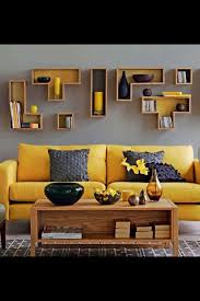 mustard and grey sitting room love this great use of yellow couchblue couchesyellow leather