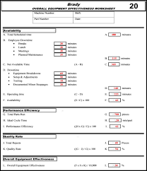 lean visual blog by brady visual communications expertise oee effectiveness worksheet example