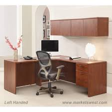 l shape desk 72 x72 with computer corner wall mount cabinets cherry or mahogany