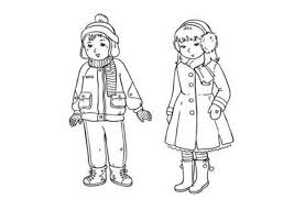 Winter Coloring Pages Clothes For Boy And Girl Winter Coloring