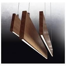 linear led flat timber pendant