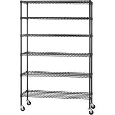 sandusky lee mws481874 b 6 tier wire shelving unit with 3 rubber casters