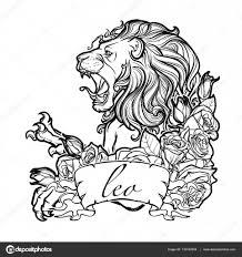 Znamení Lva S Dekorativní Rám Růže Stock Vektor Aenseidhe